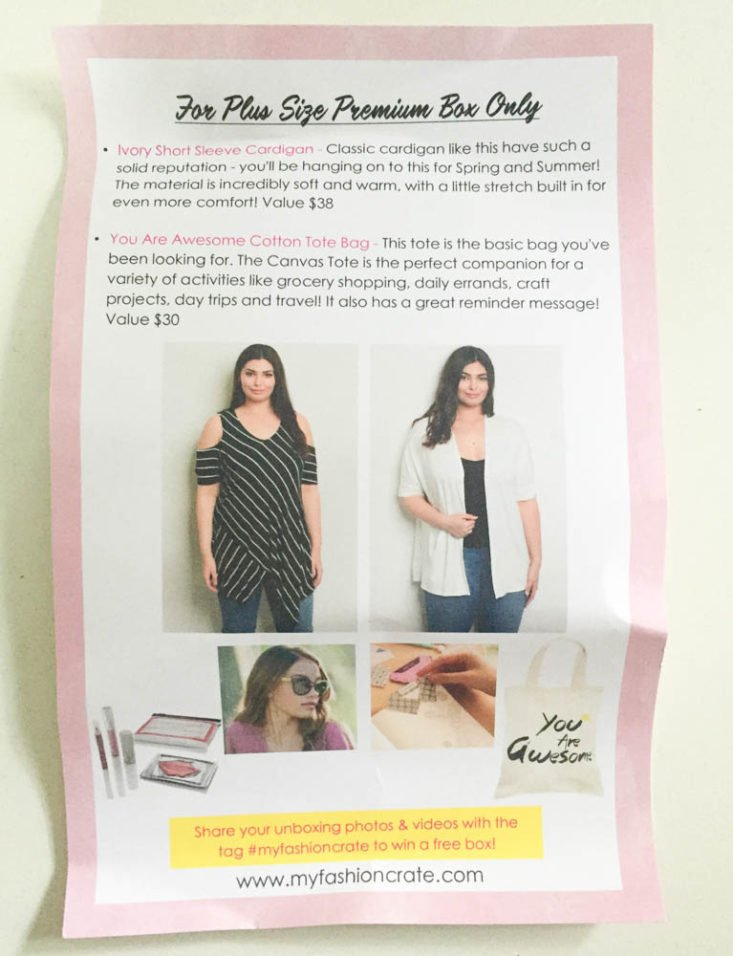 My Fashion Crate Subscription Review May 2019 - Information Card 2 Top