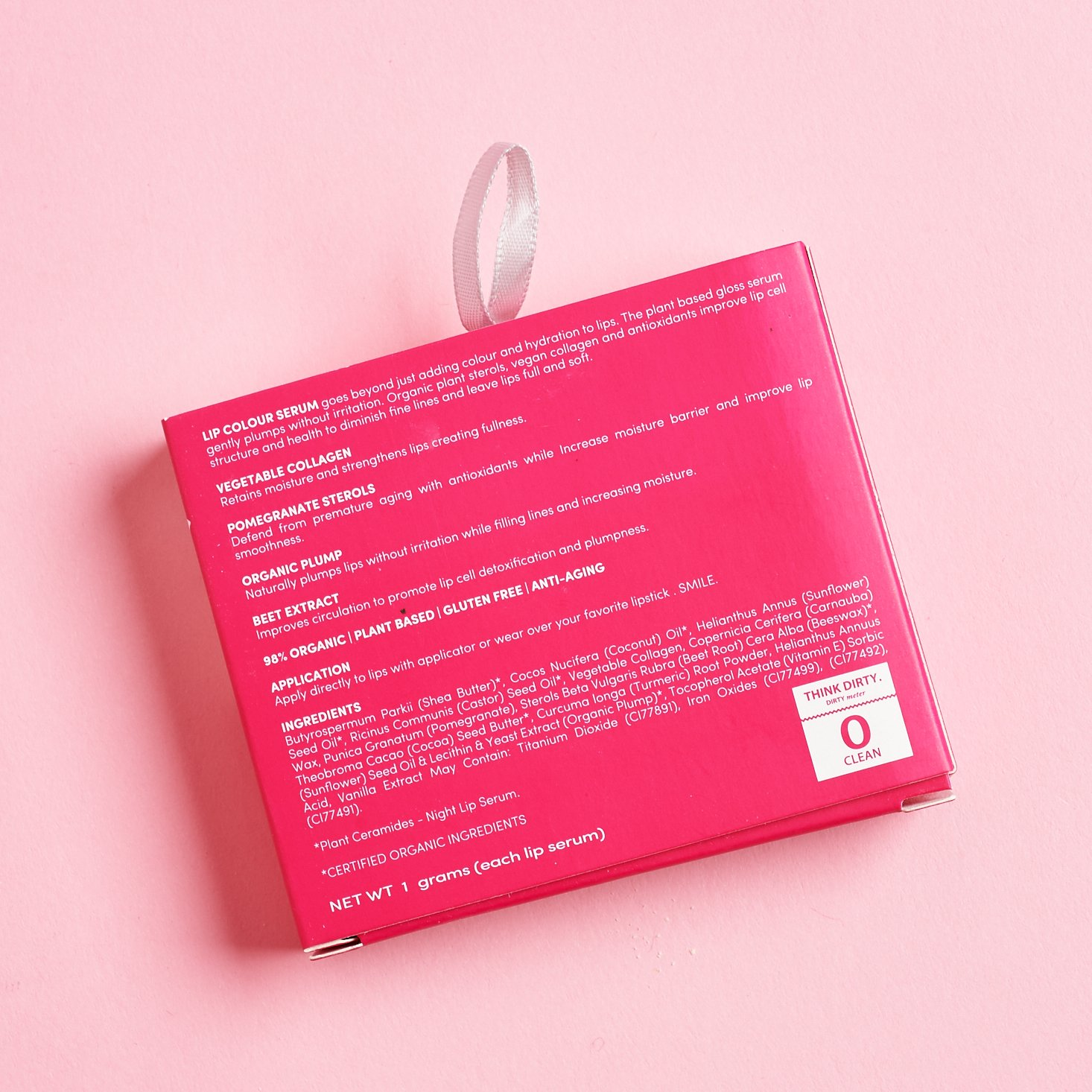back of FITGLOW BEAUTY MINI LIP SERUM TRIO box with ingredients list