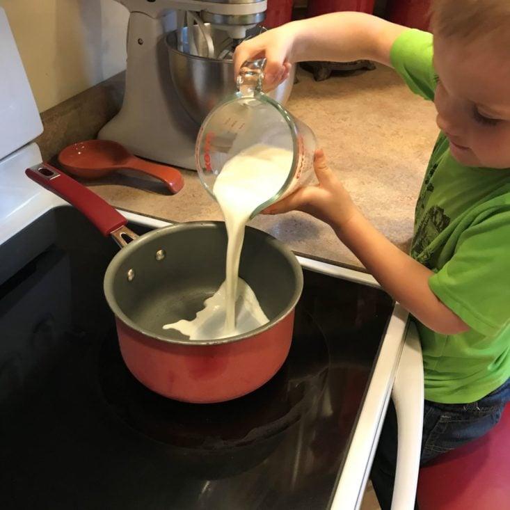 Young Chef's Club November 2019 adding milk